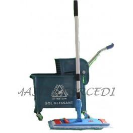 Ensemble complet lavage sols professionnel  : chariot de lavage+Balai de lavage à plat complet+frange microfibre