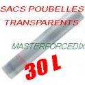 Sacs poubelles 30L transparentsx 500  12 microns