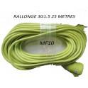rallonge 25 M 3g1.5 visible vert fluo x 1